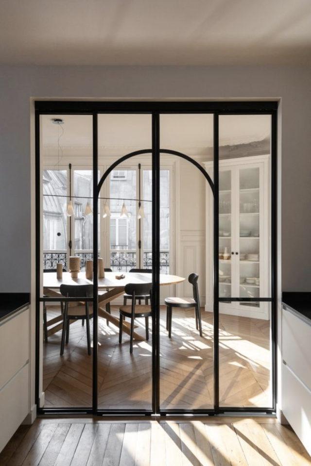 salle a manger verriere arrondie exemple tendance porte vitrée art déco nouveau