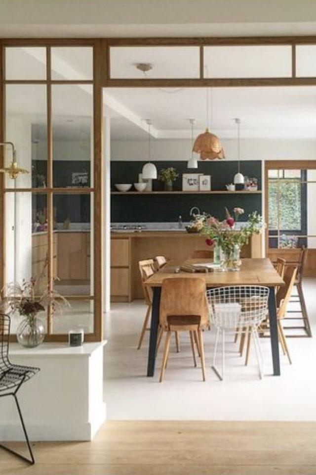 salle a manger verriere bois blanc exemple bois chaleureux simplicité convivial