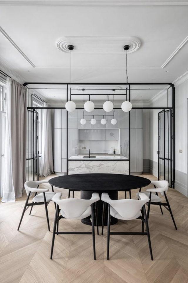 salle a manger verriere chic exemple cloison élégante et moderne