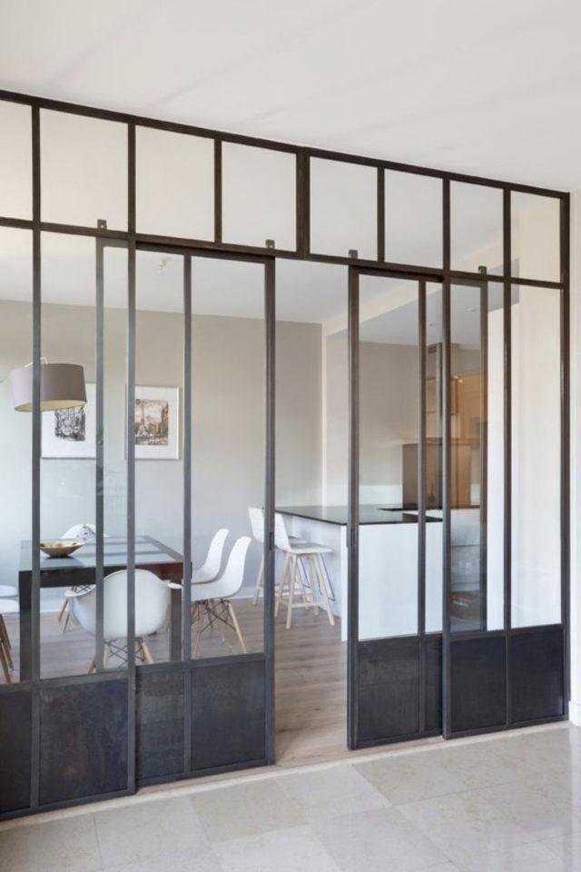 salle a manger verriere porte vitree style industriel métal et verre