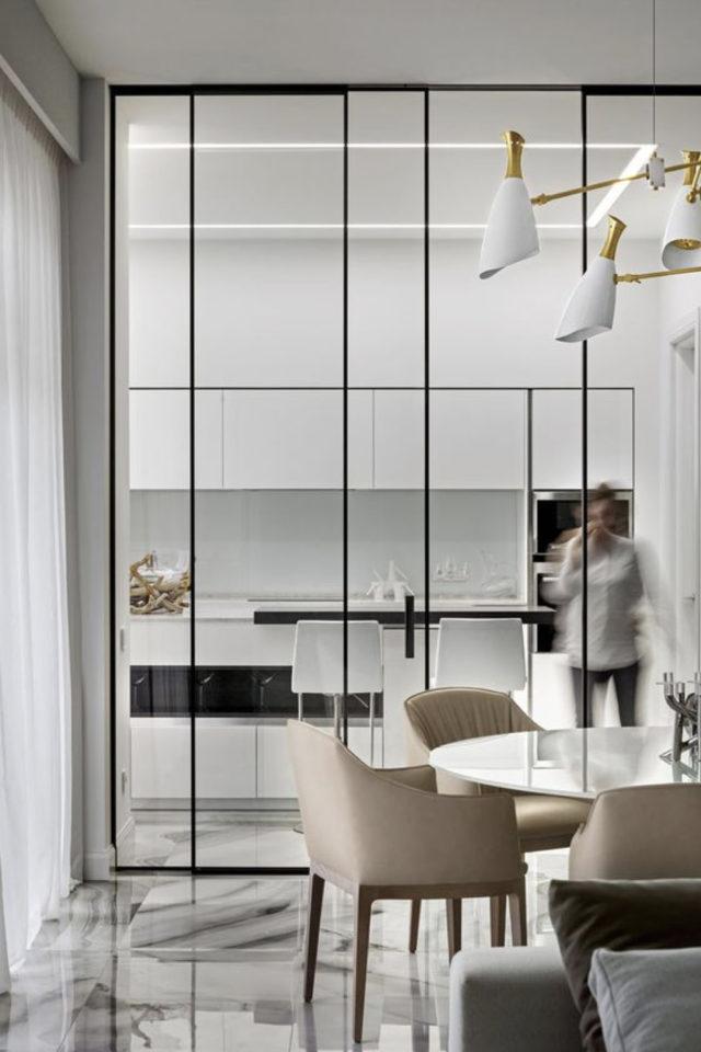salle a manger verriere porte vitree métal discret coulissant