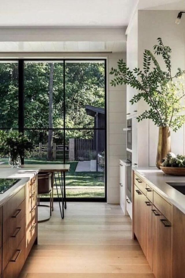 solution cuisine trop sombre baie vitrée jardin bois blanc