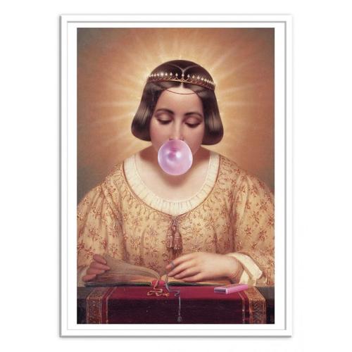 tableau classique detourne poster deco chewing gum lecture médiéval