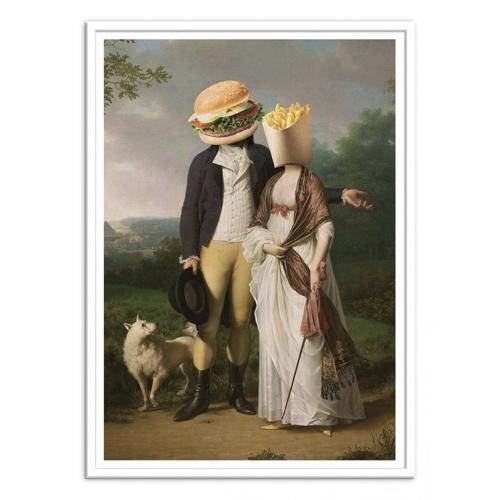 tableau classique detourne poster deco tête de burger à la chasse