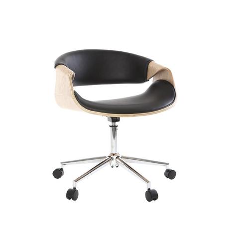 teletravail bureau salon deco fauteuil à roulette design bois et cuir moderne