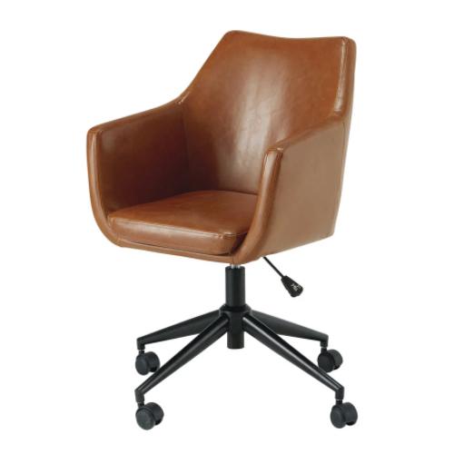 teletravail bureau salon deco fauteuil cuir