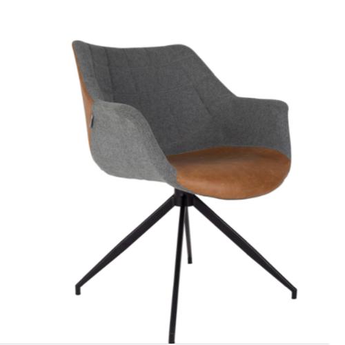 teletravail bureau salon deco fauteuil élégant cuir et tissus gris masculin