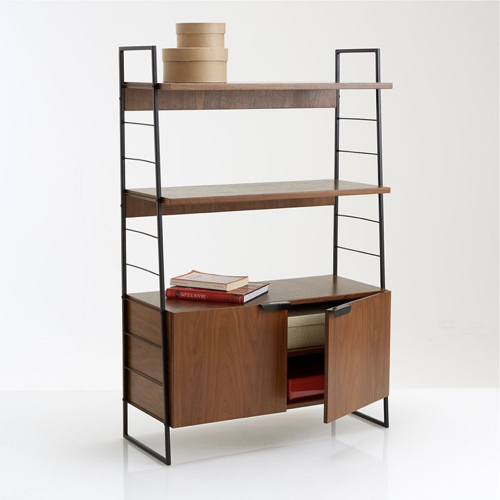 tendance 2021 vintage meuble mid century La Redoute bibliothèque étagère bois et métal