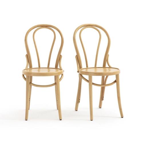 tendance campagne chic pas cher chaises bistrot bois clair lot de 2