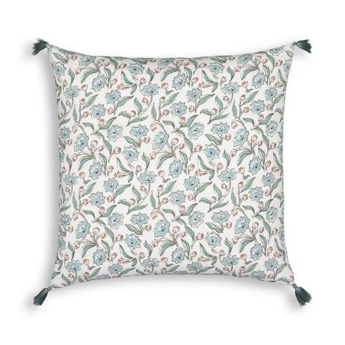 tendance campagne chic pas cher housse de coussin imprimé floral liberty petite fleurs blanc bleu vert douceur