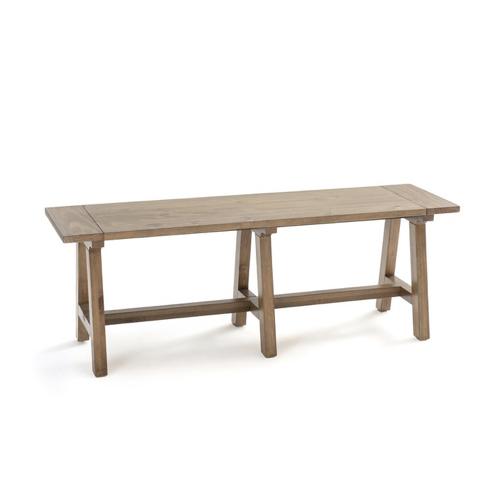 tendance deco hygge chaleureuse grand banc en bois sans dossier