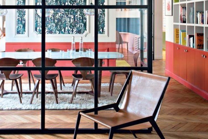 verriere salle a manger moderne idee porte vitrée métal verre tendance exemple séjour cloison