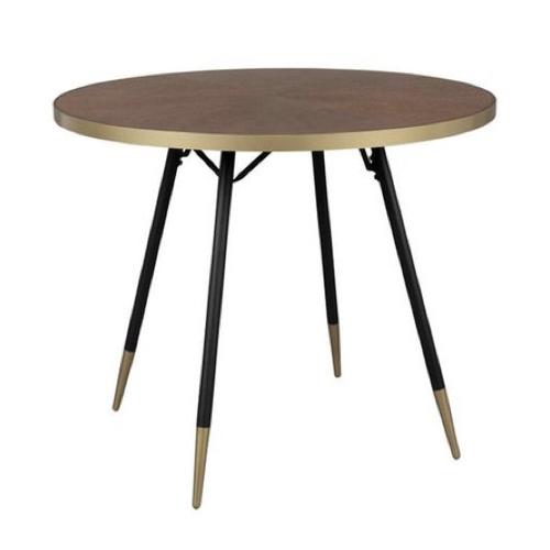 vintage table chaise coin repas table ronde bois noir et laiton mid century
