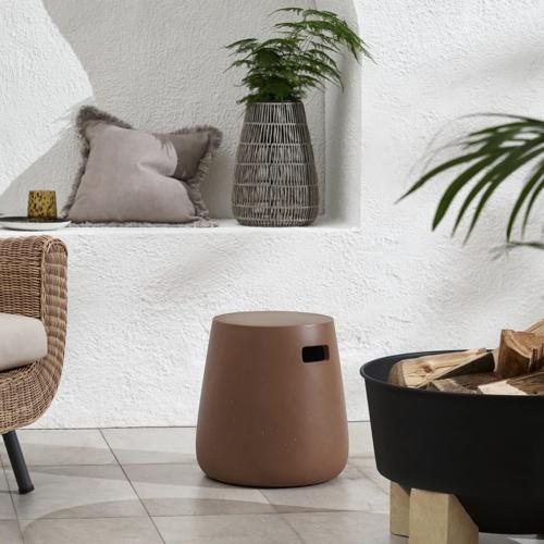 accessoire deco jardin moderne tabouret extérieur design couleur terre cuite