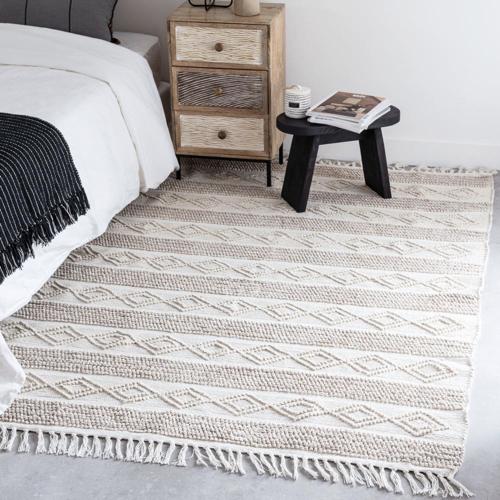 accessoire deco plus chaleureuse minimaliste slow descente de lit naturelle motif ethniques ton sur ton