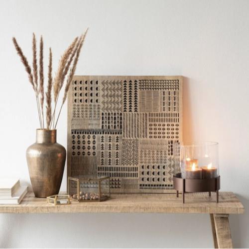 accessoire deco plus chaleureuse minimaliste slow décoration murale à poser bois motif noir