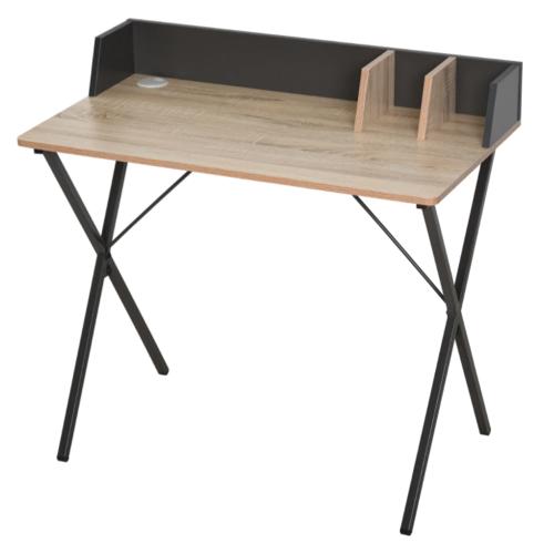 amenagement chambre petit bureau tablette bois structure noir moderne