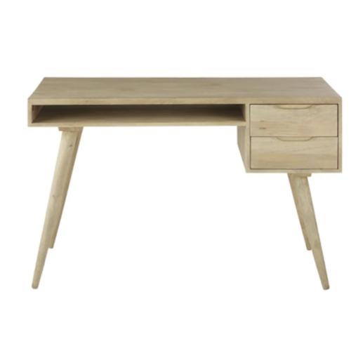 amenagement chambre petit bureau bois avec niche et tiroir simple et peu encombrant