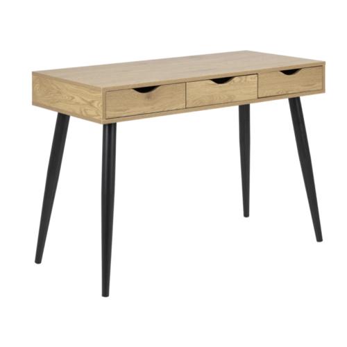 amenagement chambre petit bureau bois tiroir épuré simple piètement noir