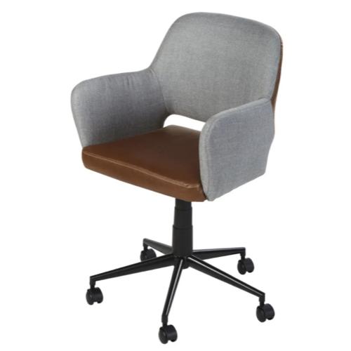 amenagement chambre petit bureau fauteuil à roulette élégant et masculin tissus gris et assise cuir