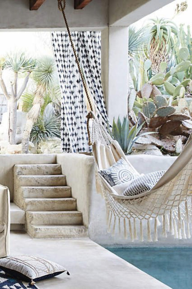 amenagement jardin ete sieste terrasse hamac bohème macramé