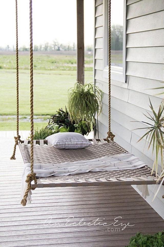 amenagement jardin ete sieste lit suspendu simple pergola terrasse ombre