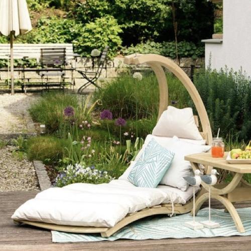 bain de soleil sieste jardin sans pied à poser au sol bois détente repos confort