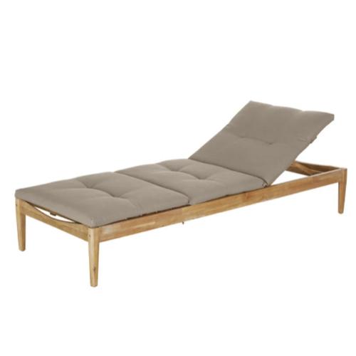 bain de soleil sieste jardin bois avec coussin taupe