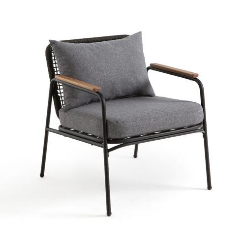 balcon cosy confort idee fauteuil salon jardin métal et coussin gris