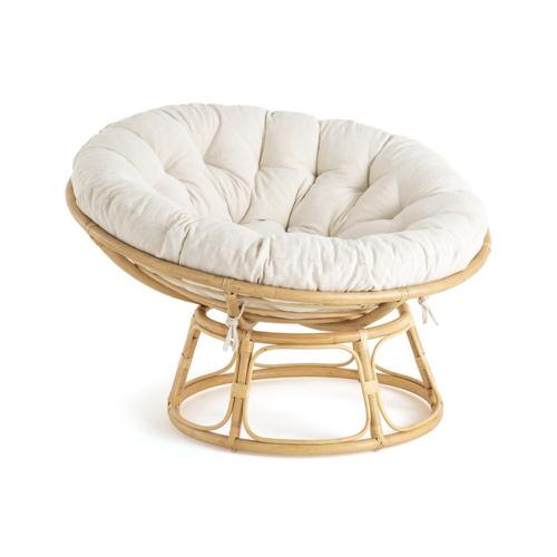 balcon cosy confort idee papasan rotin coussin beige