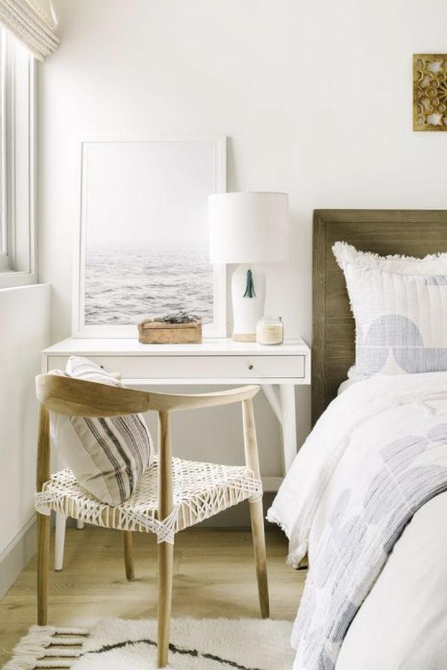 bien chez soi bureau chambre exemple à la place de la table de nuit meuble blanc petit modèle