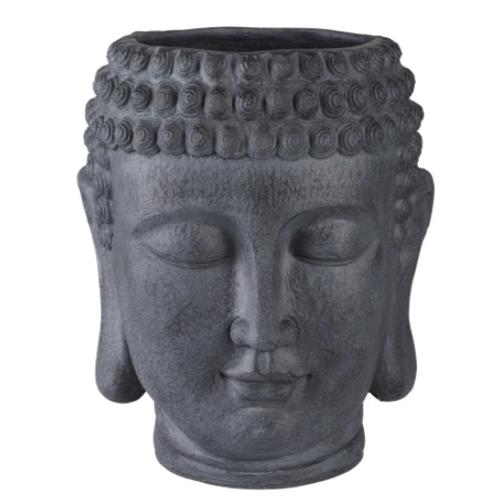 cache pot decoration boheme tête de bouddha grise pierre