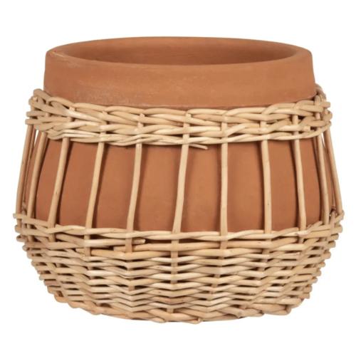 cache pot decoration boheme terre cuite terracotta naturel rotin
