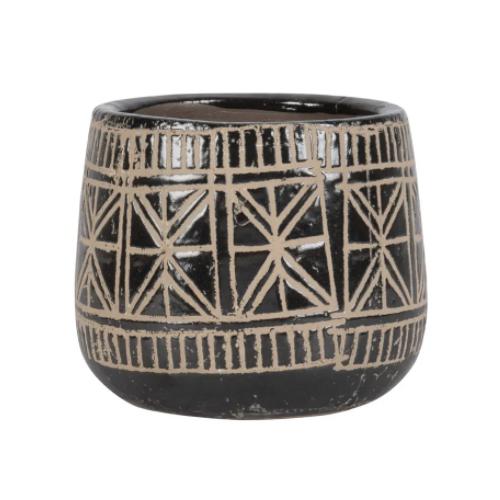 cache pot decoration boheme noir et écru motifs ethniques