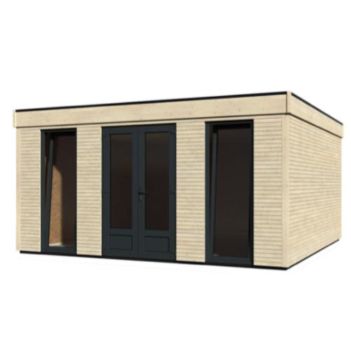 chalet jardin amenagement she shed design bois et gris fenêtre pièce en plus extérieur