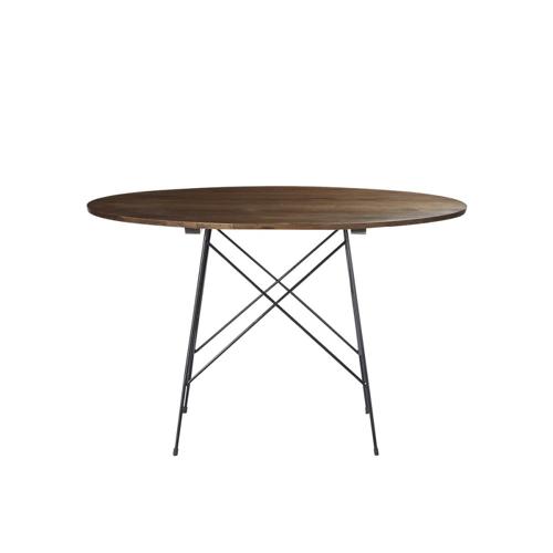 changer table salle a manger ronde légère bois et piètement métal