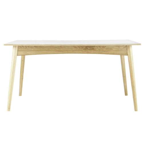 changer table salle a manger style scandinave plateau blanc pieds en bois