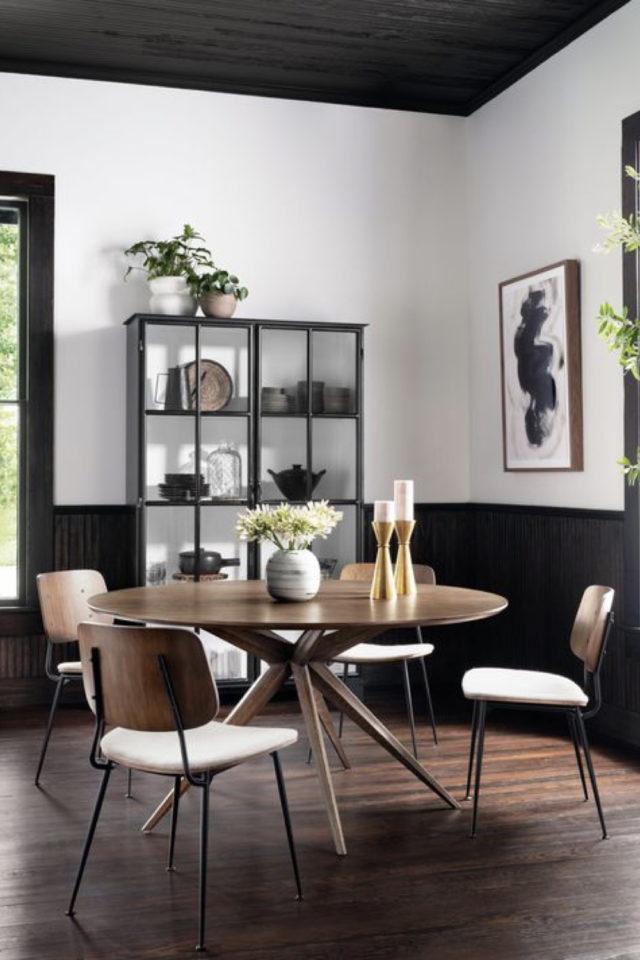 comment choisir table salle a manger style moderne table ronde en bous chaise vintage rétro