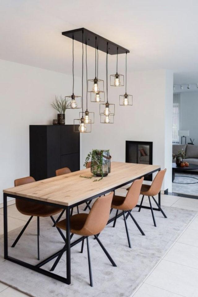 conseil choix table salle a manger 6 à 8 couverts bois piètement métal chaise cuir