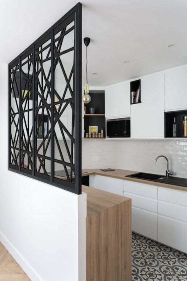conseil deco amenagement claustras interieur cuisine motif moderne peinture noir