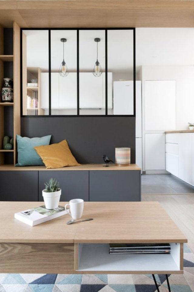 cuisine moderne verriere soubassement exemple banquette rangement salon séjour soubassement gris anthracite