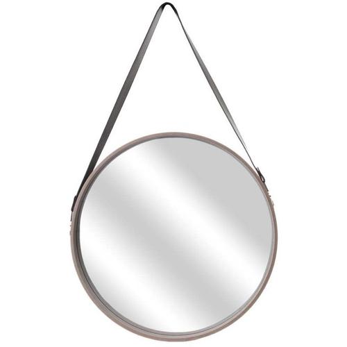deco murale miroir a suspendre lanière effet cuir moderne rond