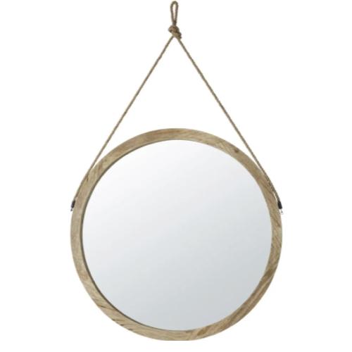 deco murale miroir a suspendre bois naturel rond simple élégant