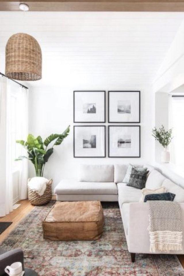 decoration 4 cadres exemple salon séjour dessus canapé angle forme carrée élégante