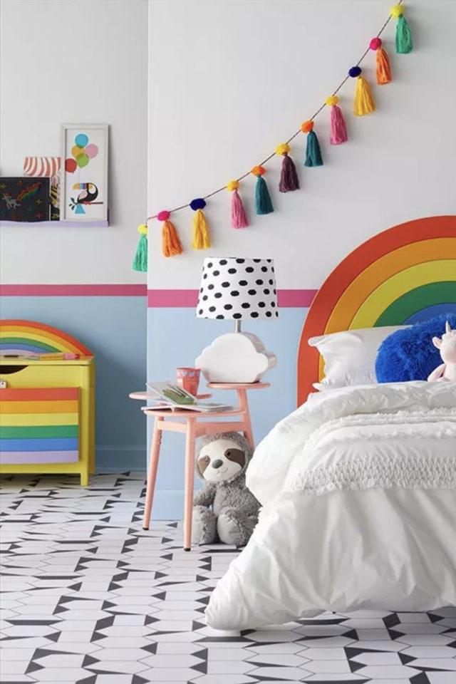decoration ompon colore exemple chambre enfant colorée déco murale arc en ciel multicolore