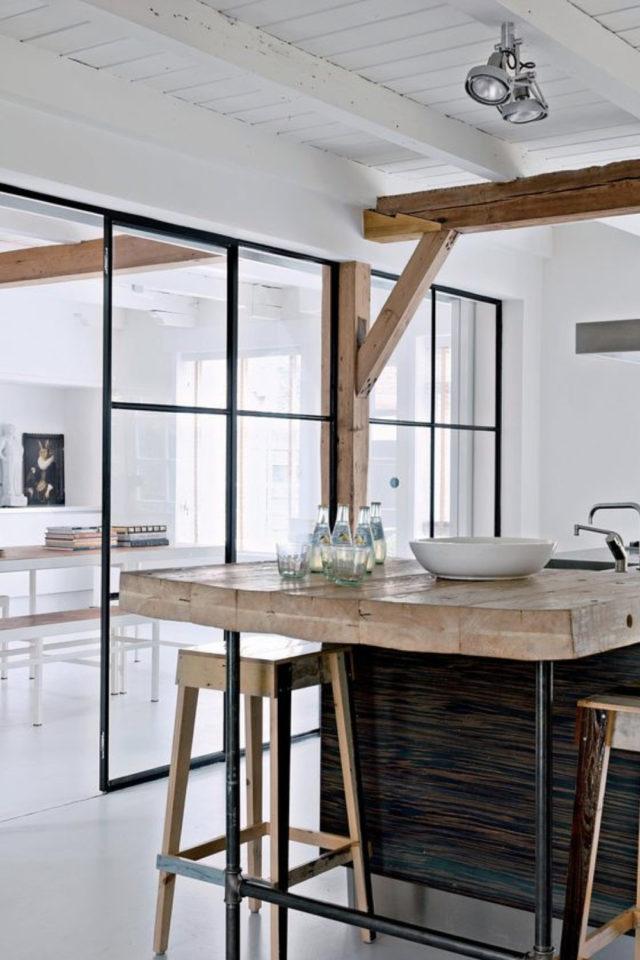 grand mur vitre cuisine moderne cloison coulissante chic simple et épurée
