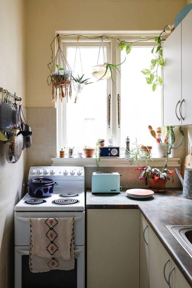 happy small living decoration petit logement petite cuisine en longueur gazinière plantes fenêtres