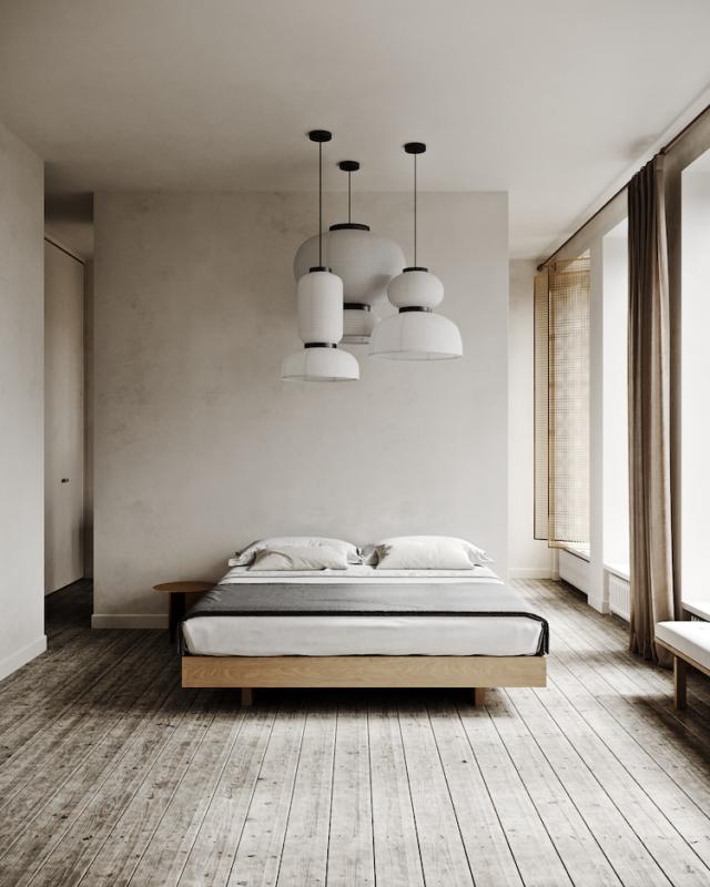 interieur minimaliste chaleureux exemple chambre à coucher slow living épuré moderne