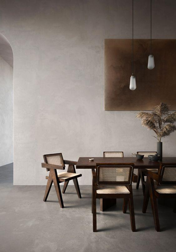 interieur minimaliste chaleureux exemple salle à manger mobilier rétro vintage revêtement mural matière