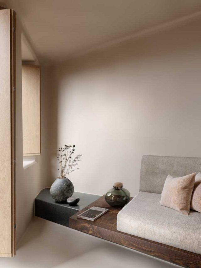 interieur minimaliste chaleureux exemple meuble sur mesure salon séjour bois écru greige